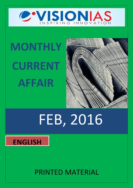 Vision IAS Monthly Current Affairs February 2016