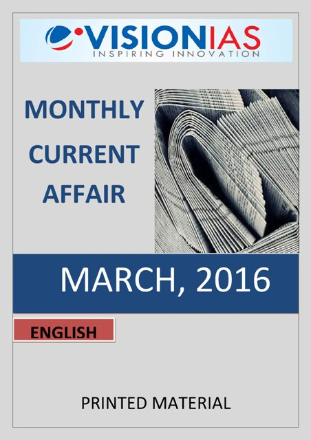 Vision IAS Monthly Current Affairs March 2016