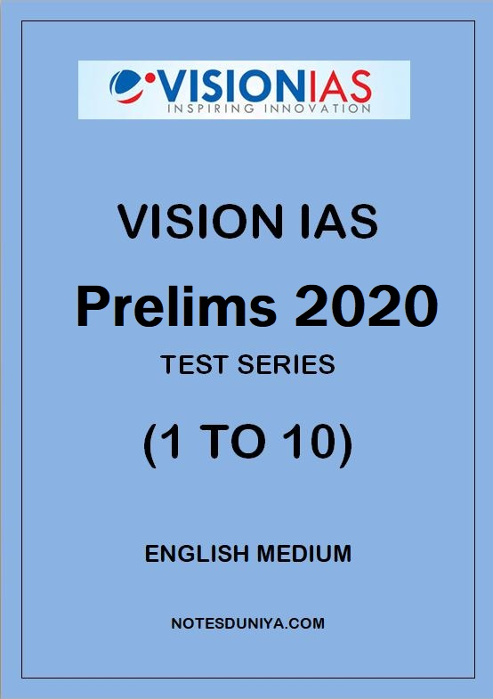 VISION IAS Prelims Test Series 2020 1 To 10 English Medium