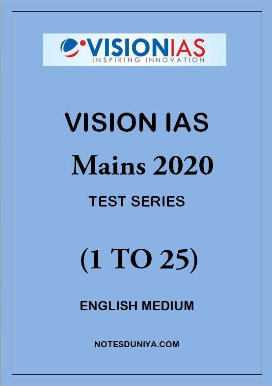 VISION IAS Mains Test Series 2020 1 To 25 English Medium