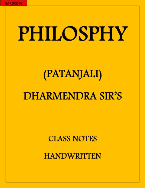 Philosophy optional PATANJALI CLASS notes