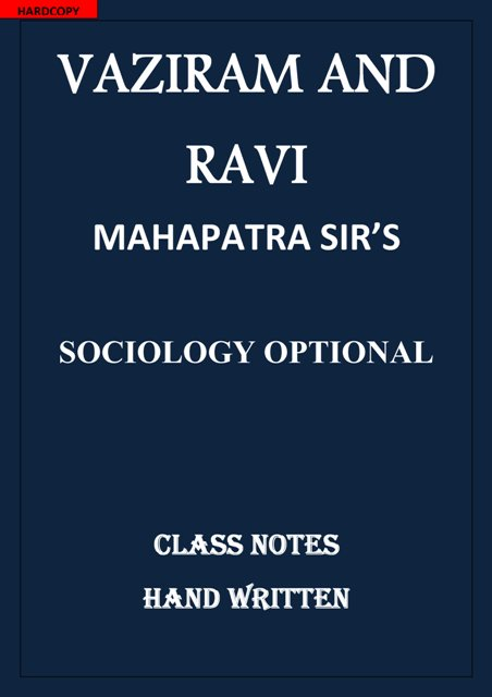 SOCIOLOGY OPTIONAL MAHAPATRA SIR VAZIRAM AND RAVI CLASS NOTES
